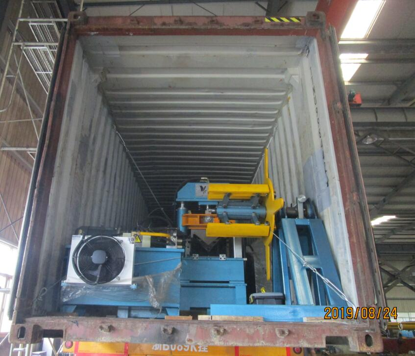 Delivery of Zhongyuan 4mm L shape roll forming machine to Russia on August 24,2019